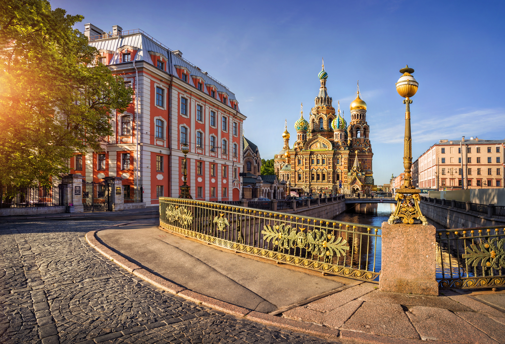 orning sunny view of the fence of the bridge and the Cathedral of Our Savior on Spilled Blood