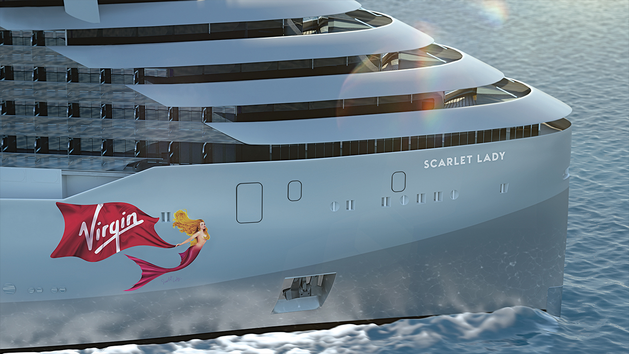 Rendered image of Virgin Voyages first ship - Scarlet Lady