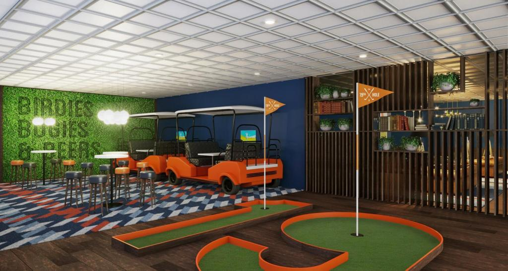 An image of a new bar onboard Marella Explorer, the funky area known as The 19th Hole