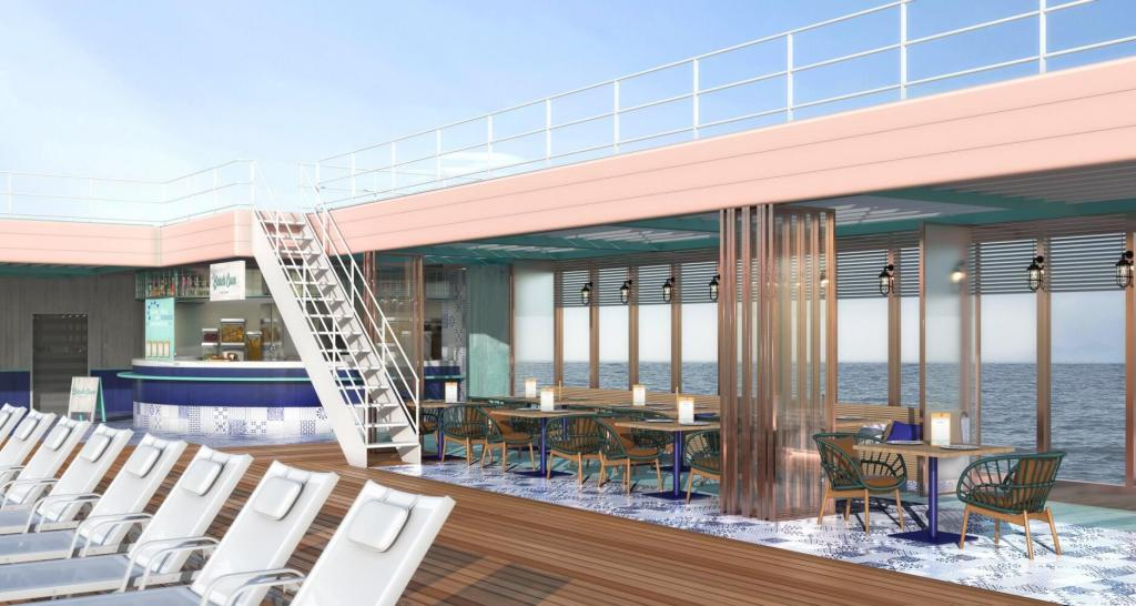 An image of The Beach Cove, a new outdoor dining venue onboard Marella Explorer 2