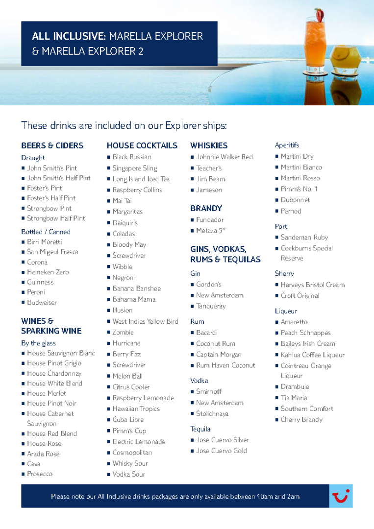 Marella Explorer Ships All Inclusive Drinks List