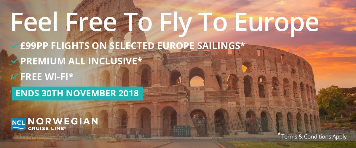 Norwegian Cruise Line Promotion - Feel Free To Fly To Europe